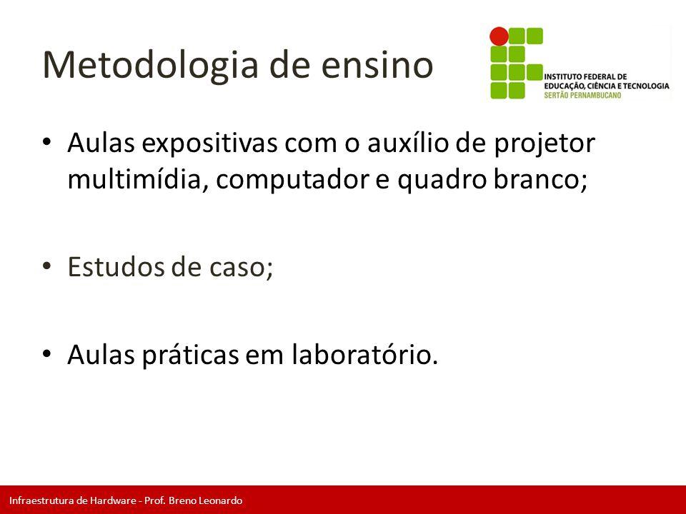 Infraestrutura de Hardware - Prof. Breno Leonardo Metodologia de ensino • Aulas expositivas com o auxílio de projetor multimídia, computador e quadro