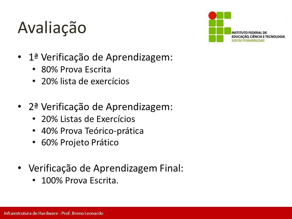 Infraestrutura de Hardware - Prof. Breno Leonardo Avaliação • 1ª Verificação de Aprendizagem: • 80% Prova Escrita • 20% lista de exercícios • 2ª Verif