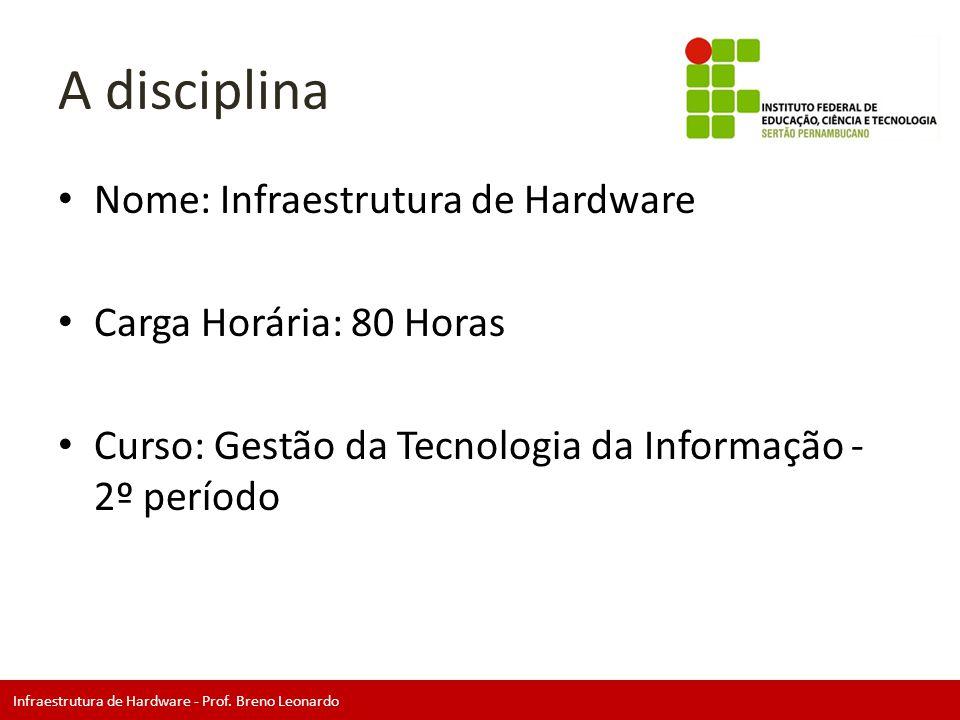 Infraestrutura de Hardware - Prof. Breno Leonardo A disciplina • Nome: Infraestrutura de Hardware • Carga Horária: 80 Horas • Curso: Gestão da Tecnolo