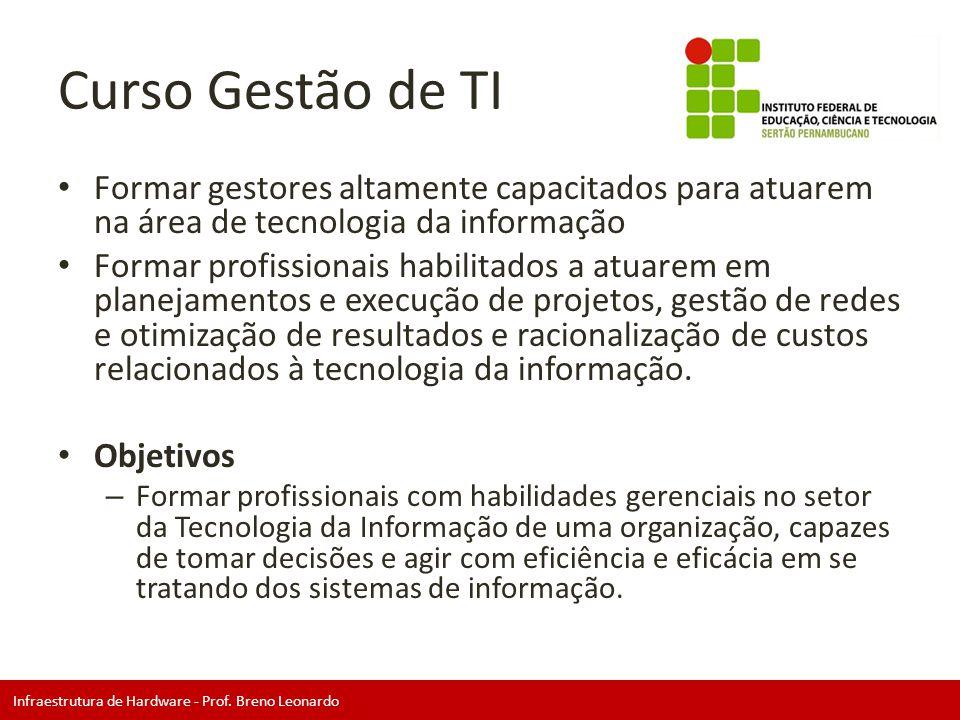 Infraestrutura de Hardware - Prof. Breno Leonardo Curso Gestão de TI • Formar gestores altamente capacitados para atuarem na área de tecnologia da inf