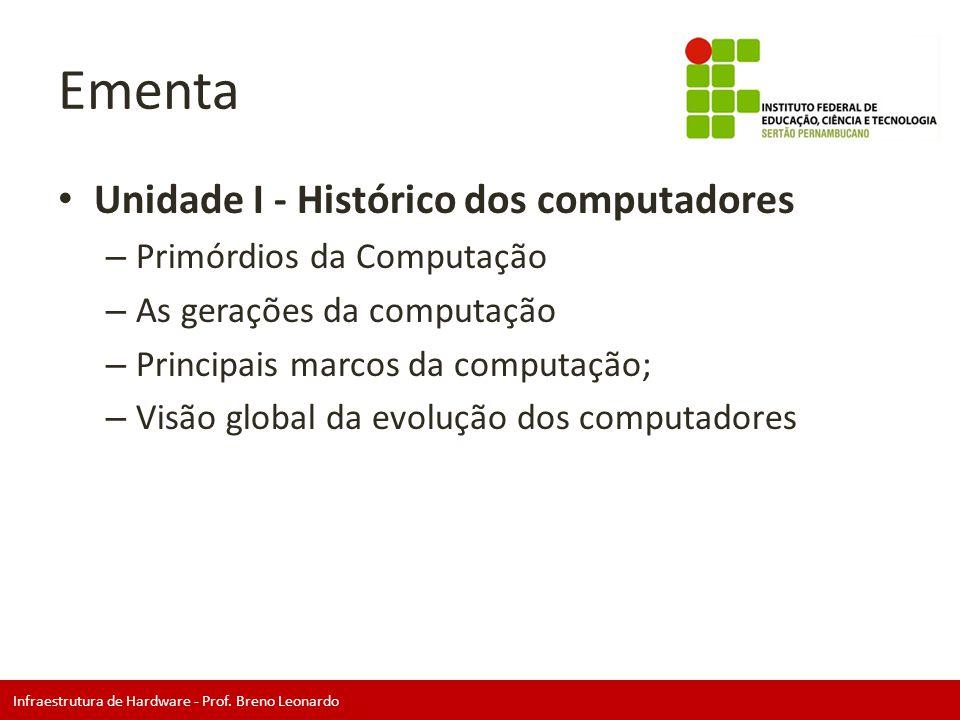 Infraestrutura de Hardware - Prof. Breno Leonardo Ementa • Unidade I - Histórico dos computadores – Primórdios da Computação – As gerações da computaç