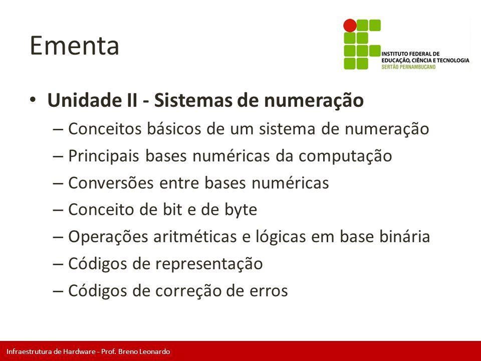 Infraestrutura de Hardware - Prof. Breno Leonardo Ementa • Unidade II - Sistemas de numeração – Conceitos básicos de um sistema de numeração – Princip