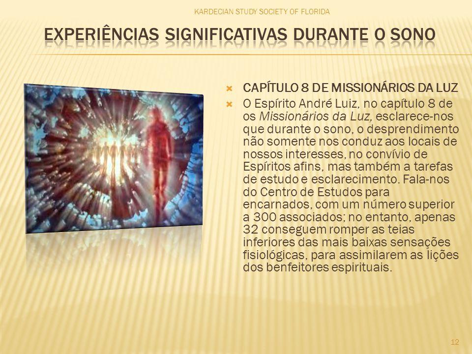  CAPÍTULO 8 DE MISSIONÁRIOS DA LUZ  O Espírito André Luiz, no capítulo 8 de os Missionários da Luz, esclarece-nos que durante o sono, o desprendimen