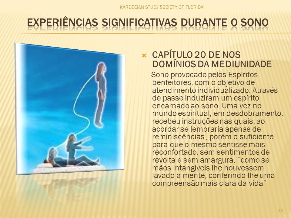  CAPÍTULO 20 DE NOS DOMÍNIOS DA MEDIUNIDADE Sono provocado pelos Espíritos benfeitores, com o objetivo de atendimento individualizado. Através de pas