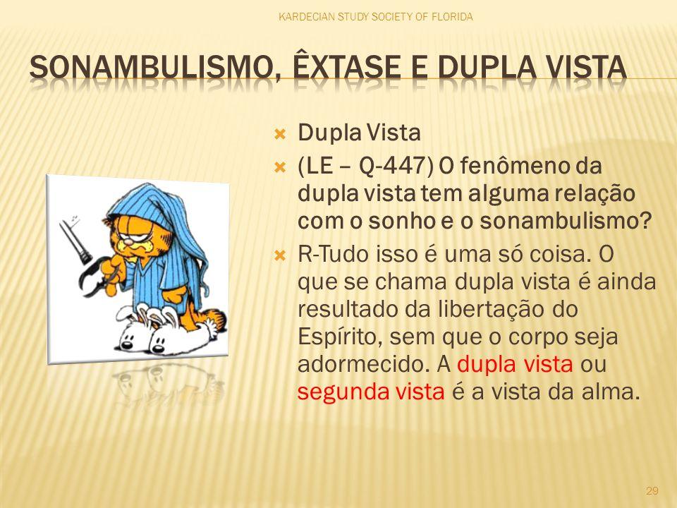  Dupla Vista  (LE – Q-447) O fenômeno da dupla vista tem alguma relação com o sonho e o sonambulismo?  R-Tudo isso é uma só coisa. O que se chama d