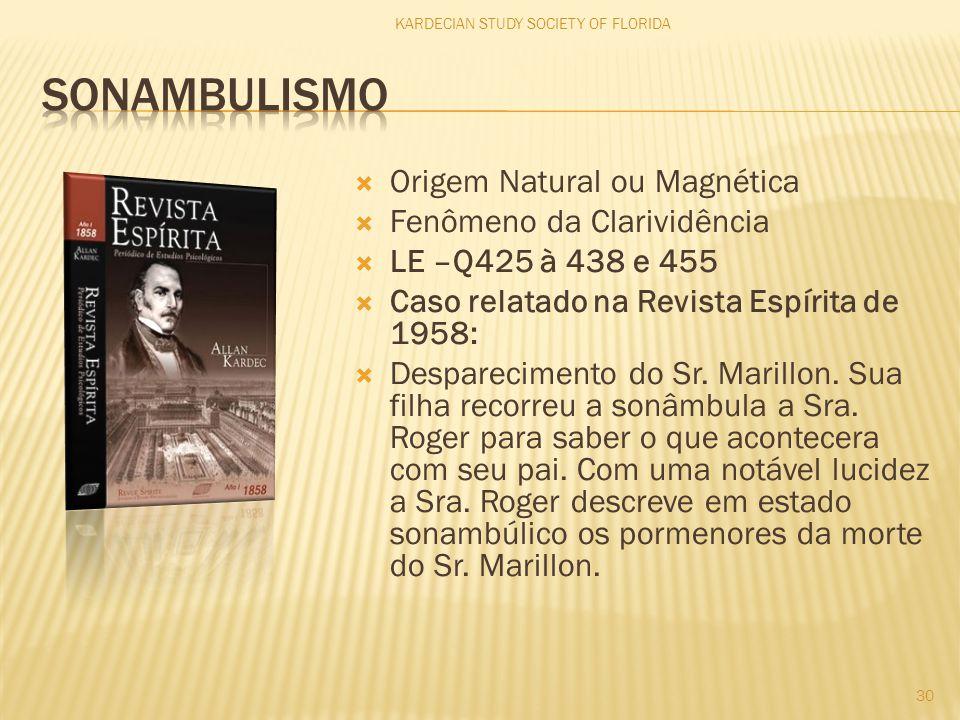  Origem Natural ou Magnética  Fenômeno da Clarividência  LE –Q425 à 438 e 455  Caso relatado na Revista Espírita de 1958:  Desparecimento do Sr.