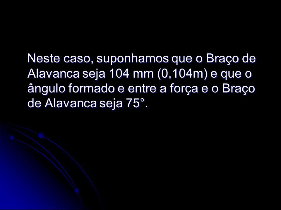 Neste caso, suponhamos que o Braço de Alavanca seja 104 mm (0,104m) e que o ângulo formado e entre a força e o Braço de Alavanca seja 75°. Neste caso,