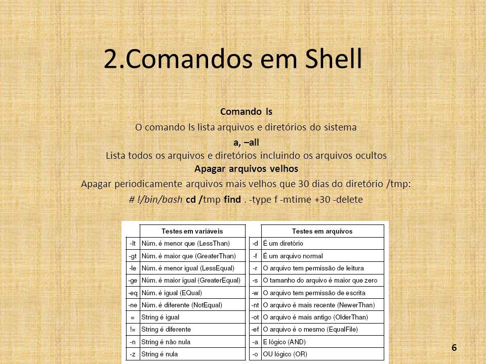 2.Comandos em Shell Comando ls O comando ls lista arquivos e diretórios do sistema a, –all Lista todos os arquivos e diretórios incluindo os arquivos