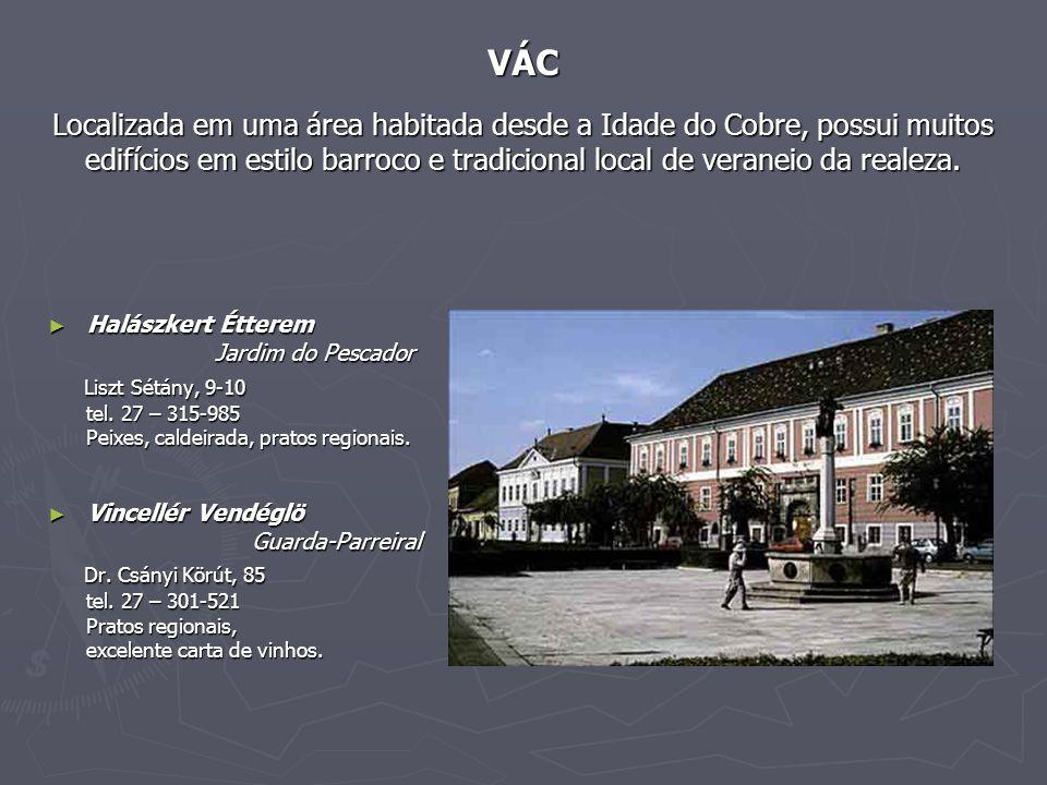 VÁC Localizada em uma área habitada desde a Idade do Cobre, possui muitos edifícios em estilo barroco e tradicional local de veraneio da realeza.