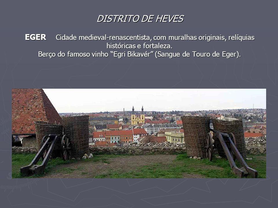 """DISTRITO DE HEVES EGER Cidade medieval-renascentista, com muralhas originais, relíquias históricas e fortaleza. Berço do famoso vinho """"Egri Bikavér"""" ("""