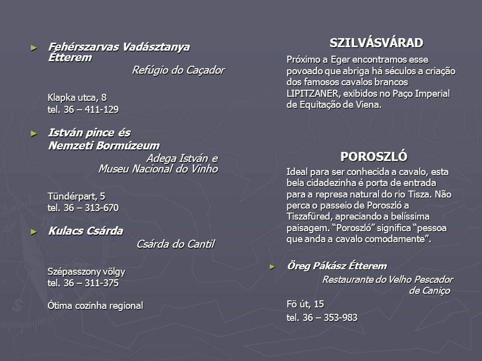 ► Fehérszarvas Vadásztanya Étterem Refúgio do Caçador Refúgio do Caçador Klapka utca, 8 tel.