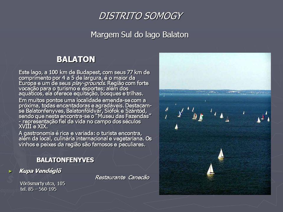 DISTRITO SOMOGY Margem Sul do lago Balaton BALATON BALATON Este lago, a 100 km de Budapest, com seus 77 km de comprimento por 4 a 5 de largura, é o maior da Europa e um de seus play-grounds.