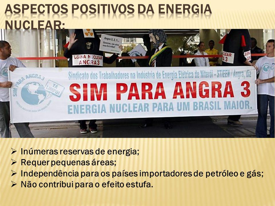  Inúmeras reservas de energia;  Requer pequenas áreas;  Independência para os países importadores de petróleo e gás;  Não contribui para o efeito