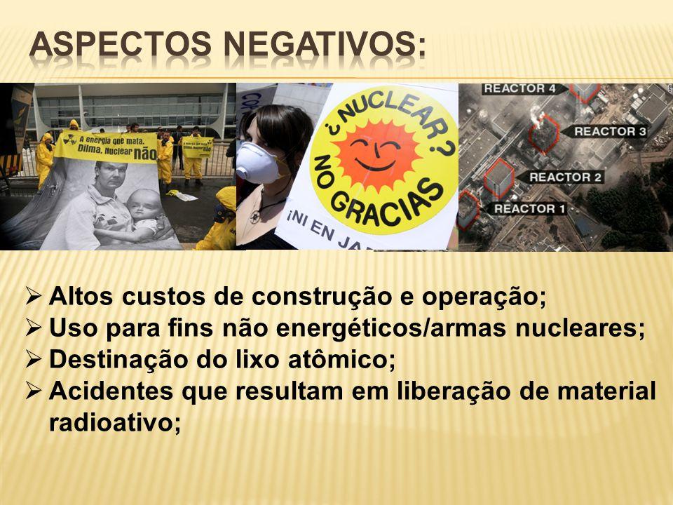  Altos custos de construção e operação;  Uso para fins não energéticos/armas nucleares;  Destinação do lixo atômico;  Acidentes que resultam em li