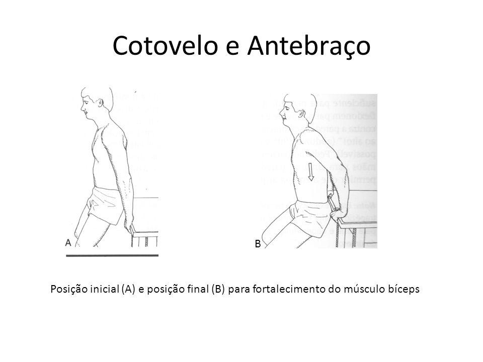 Cotovelo e Antebraço Posição inicial (A) e posição final (B) para fortalecimento do músculo bíceps B