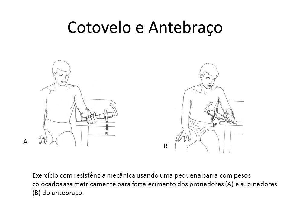Cotovelo e Antebraço A B Exercício com resistência mecânica usando uma pequena barra com pesos colocados assimetricamente para fortalecimento dos pron