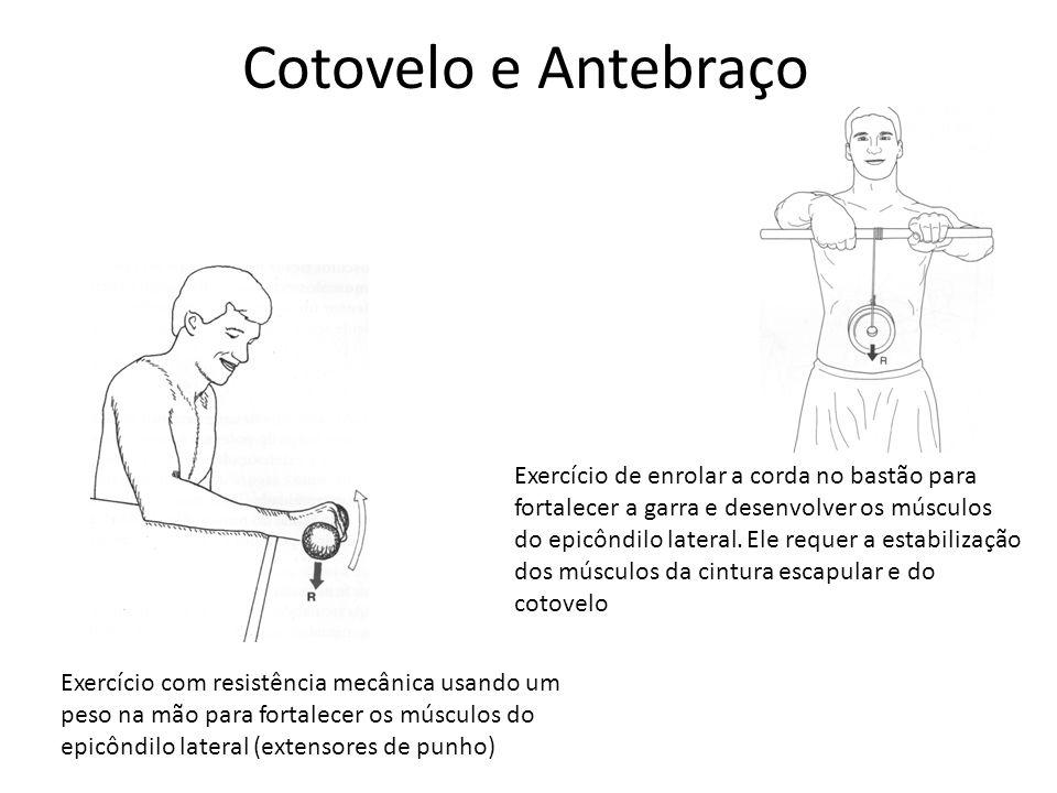 Cotovelo e Antebraço Exercício com resistência mecânica usando um peso na mão para fortalecer os músculos do epicôndilo lateral (extensores de punho)