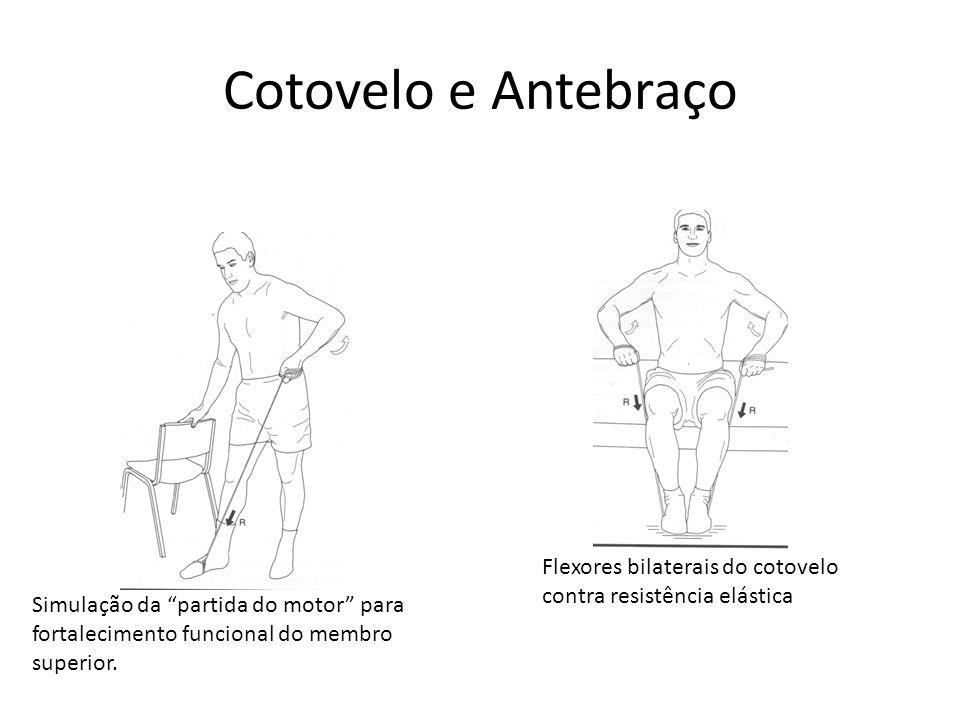 """Cotovelo e Antebraço Flexores bilaterais do cotovelo contra resistência elástica Simulação da """"partida do motor"""" para fortalecimento funcional do memb"""
