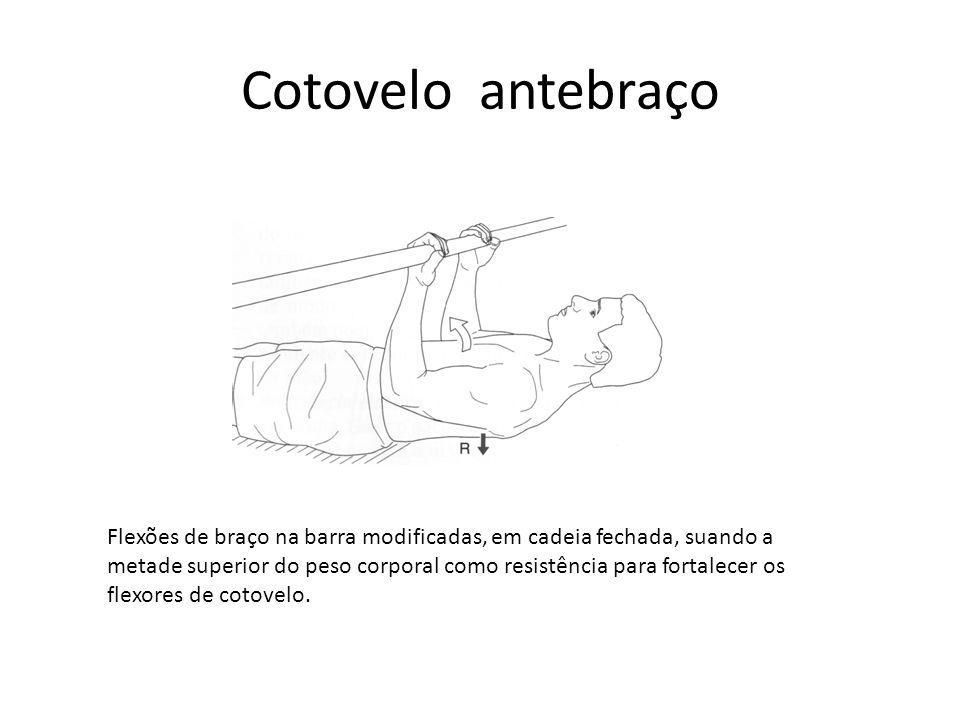 Cotovelo antebraço Flexões de braço na barra modificadas, em cadeia fechada, suando a metade superior do peso corporal como resistência para fortalece