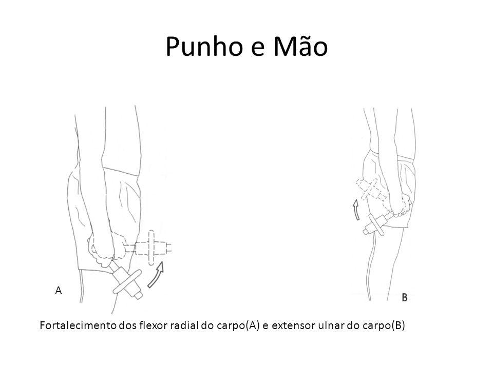 A Fortalecimento dos flexor radial do carpo(A) e extensor ulnar do carpo(B)