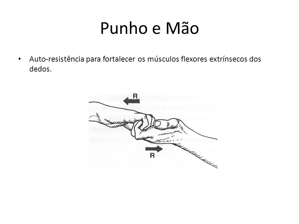 Punho e Mão • Auto-resistência para fortalecer os músculos flexores extrínsecos dos dedos.