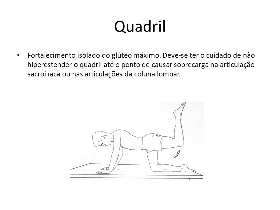 Quadril • Fortalecimento isolado do glúteo máximo. Deve-se ter o cuidado de não hiperestender o quadril até o ponto de causar sobrecarga na articulaçã