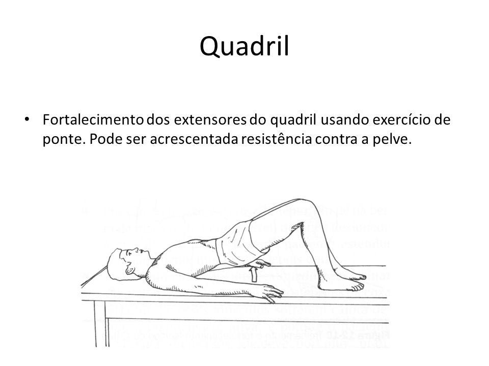 Quadril • Fortalecimento dos extensores do quadril usando exercício de ponte. Pode ser acrescentada resistência contra a pelve.