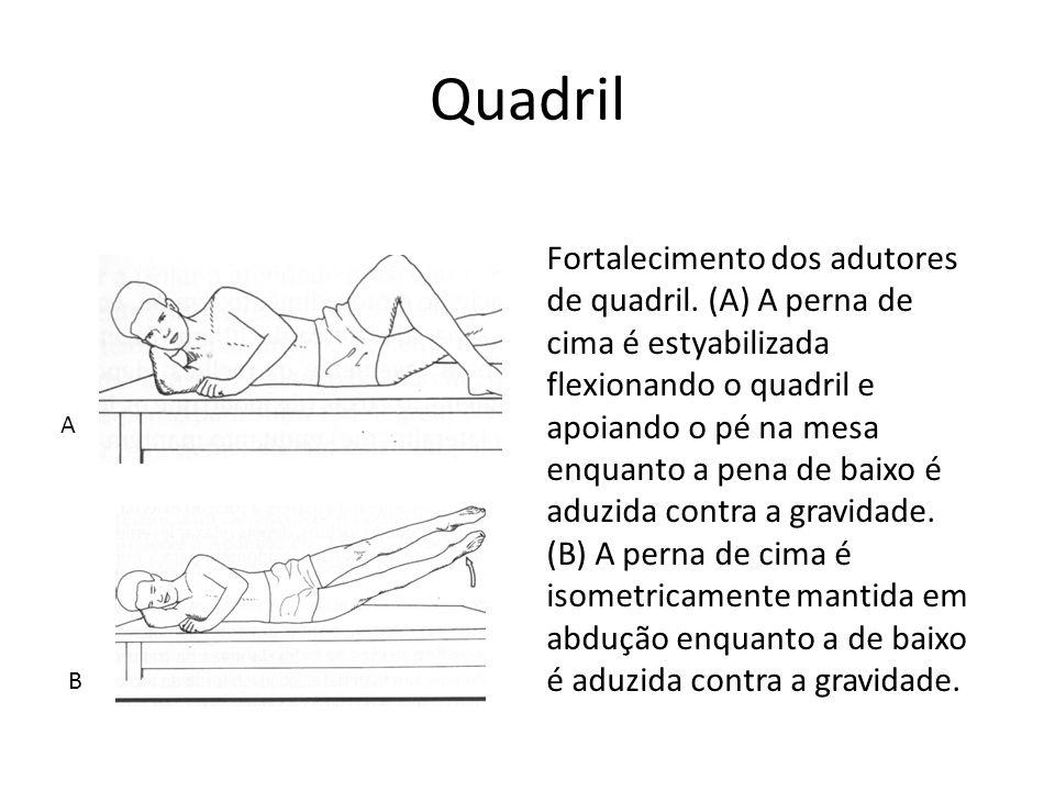 Quadril Fortalecimento dos adutores de quadril. (A) A perna de cima é estyabilizada flexionando o quadril e apoiando o pé na mesa enquanto a pena de b