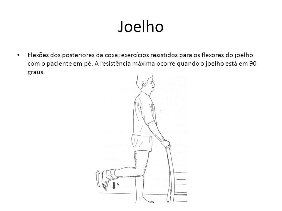 Joelho • Flexões dos posteriores da coxa; exercícios resistidos para os flexores do joelho com o paciente em pé. A resistência máxima ocorre quando o