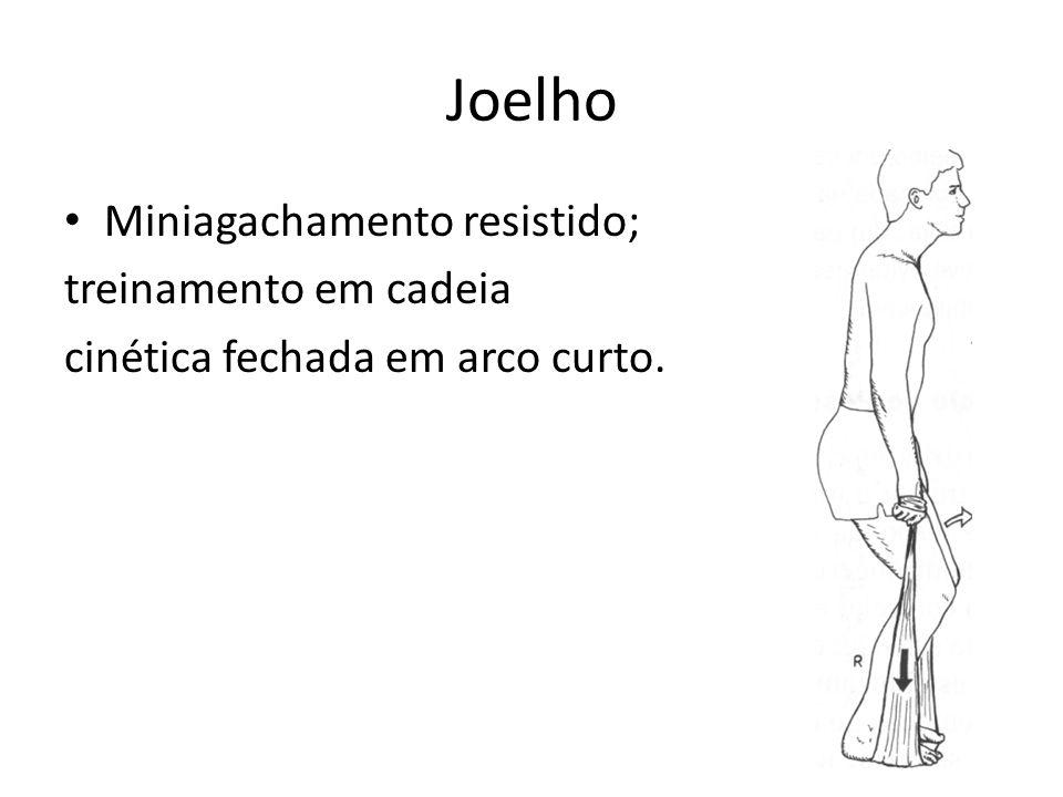 Joelho • Miniagachamento resistido; treinamento em cadeia cinética fechada em arco curto.