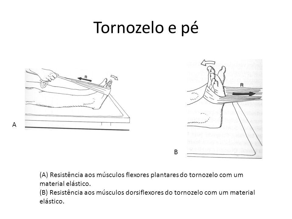 (A) Resistência aos músculos flexores plantares do tornozelo com um material elástico. (B) Resistência aos músculos dorsiflexores do tornozelo com um
