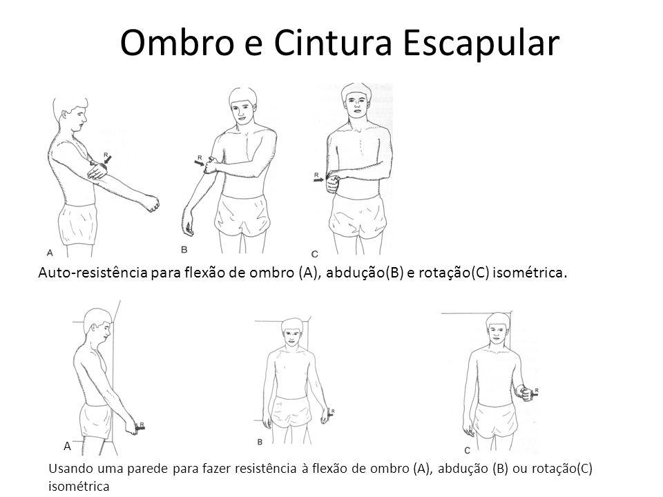 Ombro e Cintura Escapular Auto-resistência para flexão de ombro (A), abdução(B) e rotação(C) isométrica. Usando uma parede para fazer resistência à fl