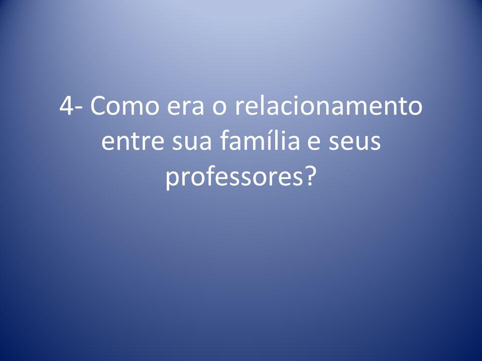 3- Qual a lembrança que tem da ida de seus pais à escola?