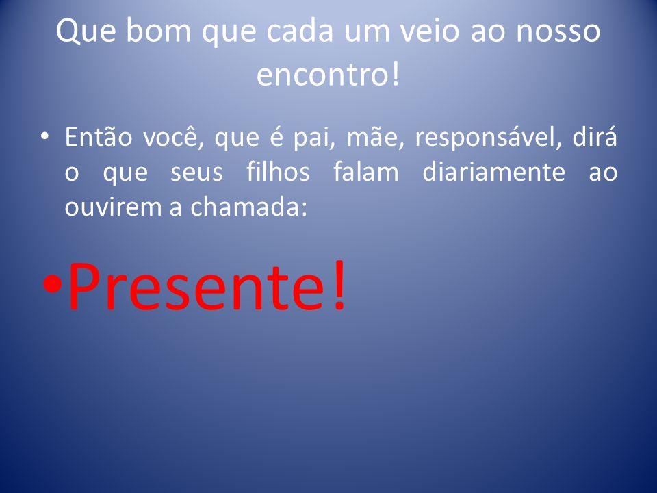 Projeto Família Presente 23 de outubro 2013 Família + Escola = Sucesso na vida!