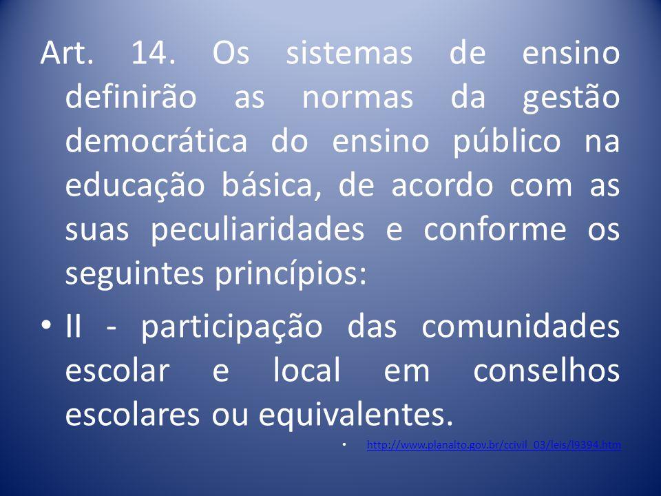 • Art. 12. Os estabelecimentos de ensino, respeitadas as normas comuns e as do seu sistema de ensino, terão a incumbência de: VI - articular-se com as