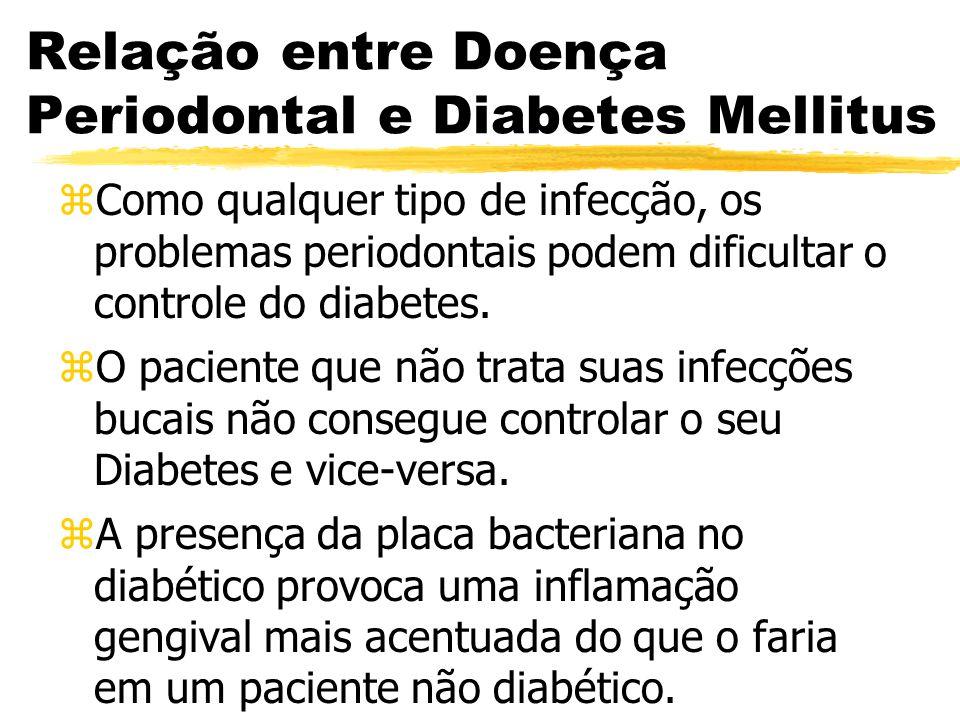 Relação entre Doença Periodontal e Diabetes Mellitus zComo qualquer tipo de infecção, os problemas periodontais podem dificultar o controle do diabete