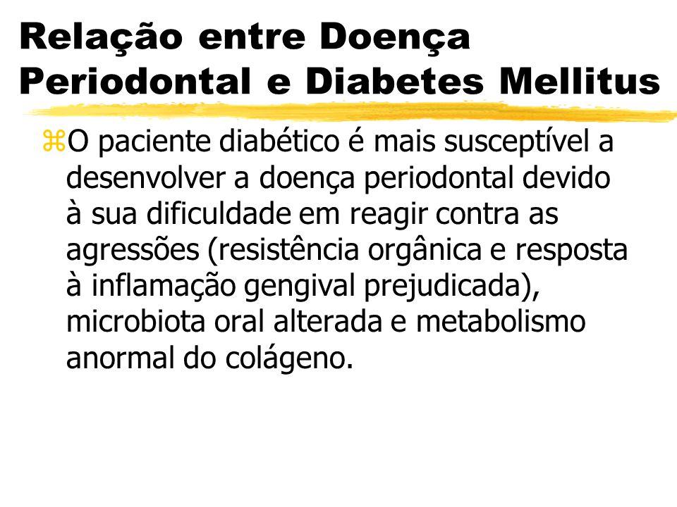 Relação entre Doença Periodontal e Diabetes Mellitus zO paciente diabético é mais susceptível a desenvolver a doença periodontal devido à sua dificuld