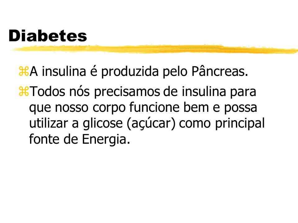 Diabetes zA insulina é produzida pelo Pâncreas. zTodos nós precisamos de insulina para que nosso corpo funcione bem e possa utilizar a glicose (açúcar