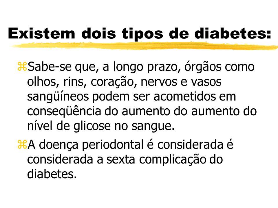Existem dois tipos de diabetes: zSabe-se que, a longo prazo, órgãos como olhos, rins, coração, nervos e vasos sangüíneos podem ser acometidos em conse
