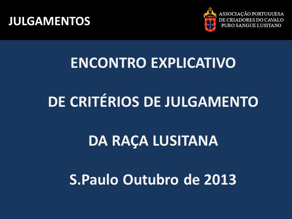 ASSOCIAÇÃO PORTUGUESA DE CRIADORES DO CAVALO PURO SANGUE LUSITANO JULGAMENTOS ENCONTRO EXPLICATIVO DE CRITÉRIOS DE JULGAMENTO DA RAÇA LUSITANA S.Paulo