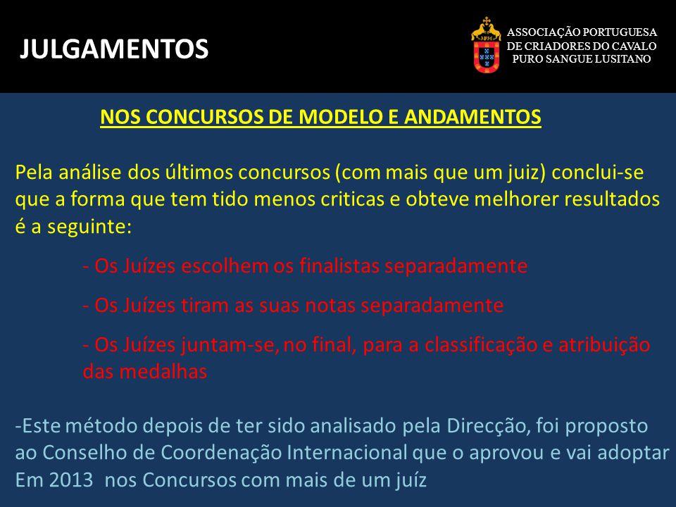ASSOCIAÇÃO PORTUGUESA DE CRIADORES DO CAVALO PURO SANGUE LUSITANO JULGAMENTOS Pela análise dos últimos concursos (com mais que um juiz) conclui-se que