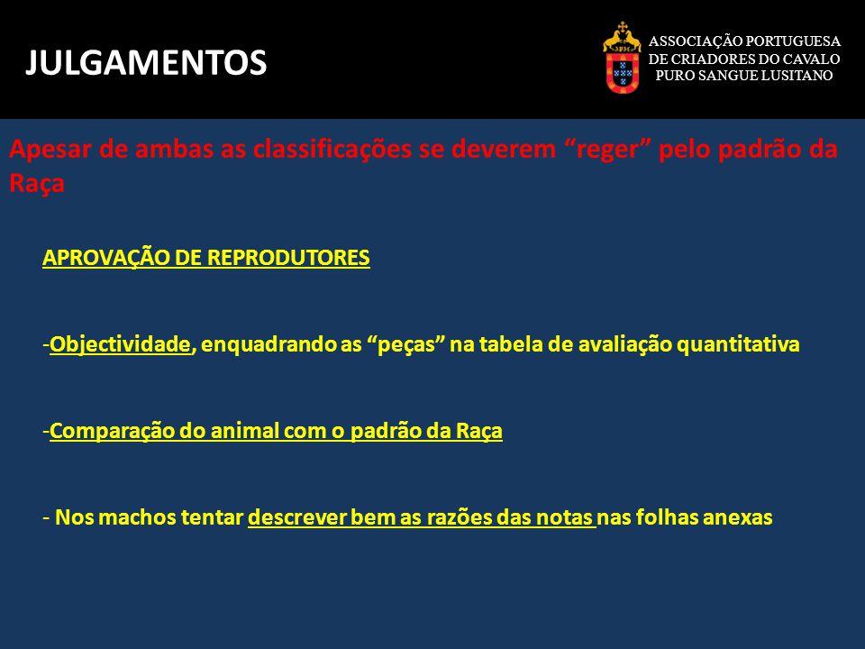 ASSOCIAÇÃO PORTUGUESA DE CRIADORES DO CAVALO PURO SANGUE LUSITANO JULGAMENTOS APROVAÇÕES DE REPRODUTORES VERSUS MA APROVAÇÃO DE REPRODUTORES - Classificação mais objectiva, pois fundamentada nas notas - Classificação definitiva(até 2007 apesar de actualmente poder haver subida de nota e Recurso), mas que geralmente ficará para sempre no curriculum do animal CONCURSOS DE MODELO E ANDAMENTOS - Quando não feita por atribuição de notas e Apesar de sempre baseada no padrão da Raça, é mais subjectiva pois há que hierarquizar os animais segundo a sua qualidade -Um animal pode ir a vários Concursos (o juiz não se pode influenciar pelos resultados anteriores pois o animal está a ser julgado no momento)