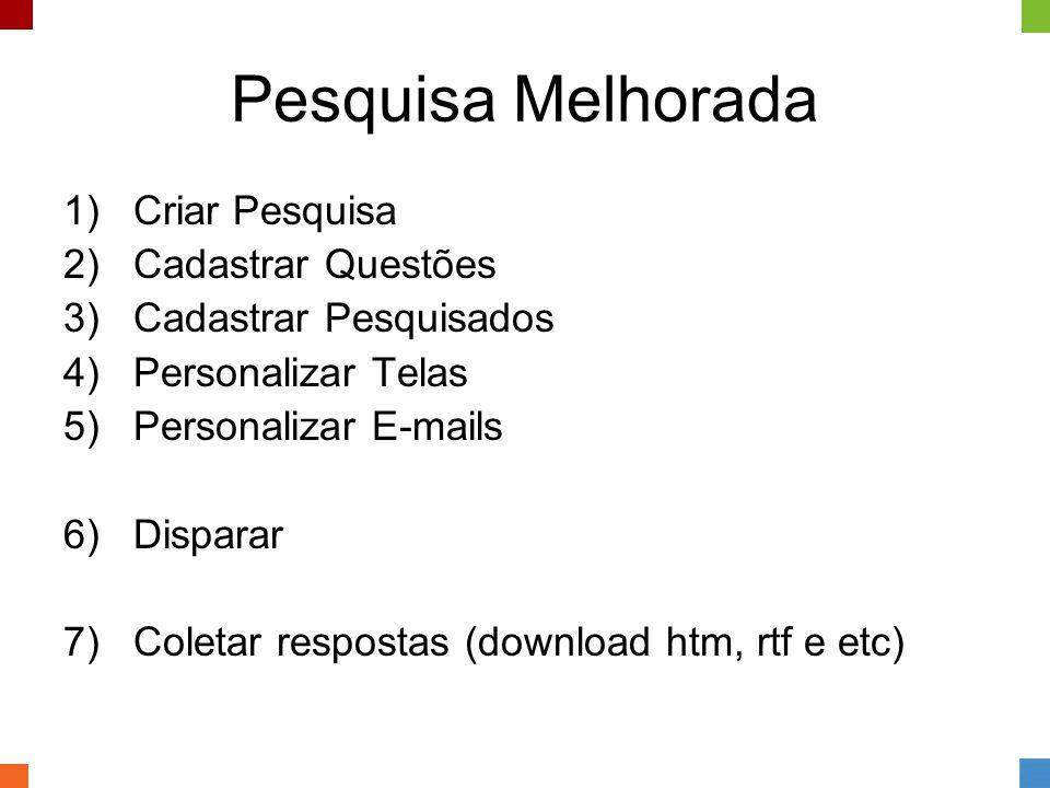 Pesquisa Melhorada 1)Criar Pesquisa 2)Cadastrar Questões 3)Cadastrar Pesquisados 4)Personalizar Telas 5)Personalizar E-mails 6)Disparar 7)Coletar resp