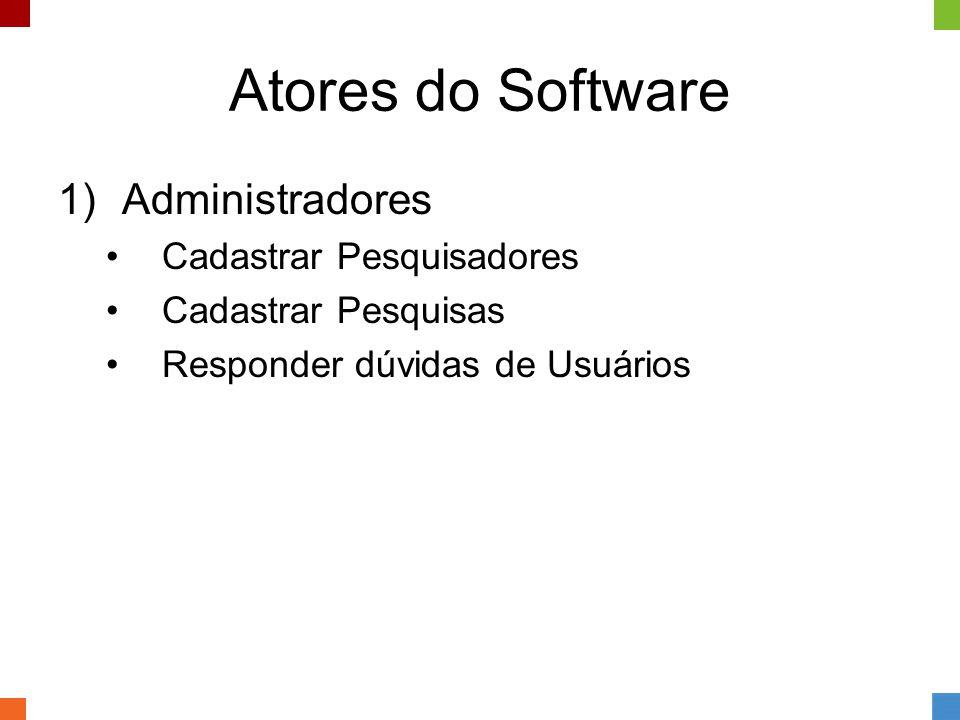 Atores do Software 1)Administradores •Cadastrar Pesquisadores •Cadastrar Pesquisas •Responder dúvidas de Usuários