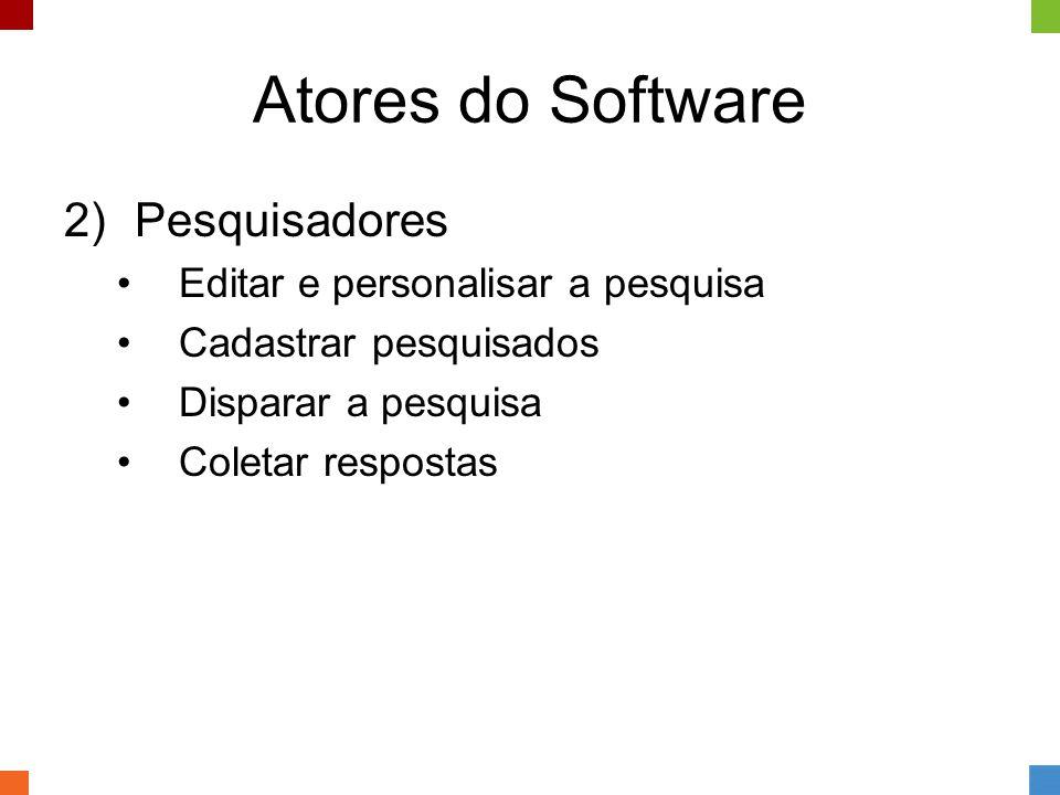 Atores do Software 2)Pesquisadores •Editar e personalisar a pesquisa •Cadastrar pesquisados •Disparar a pesquisa •Coletar respostas