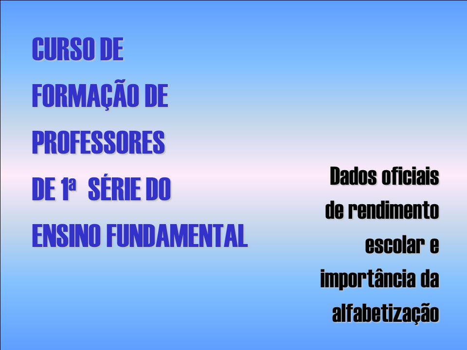 CURSO DE FORMAÇÃO DE PROFESSORES DE 1 a SÉRIE DO ENSINO FUNDAMENTAL Dados oficiais de rendimento escolar e escolar e importância da importância daalfa