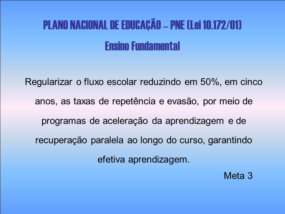 PLANO NACIONAL DE EDUCAÇÃO – PNE (Lei 10.172/01) Ensino Fundamental Regularizar o fluxo escolar reduzindo em 50%, em cinco anos, as taxas de repetênci
