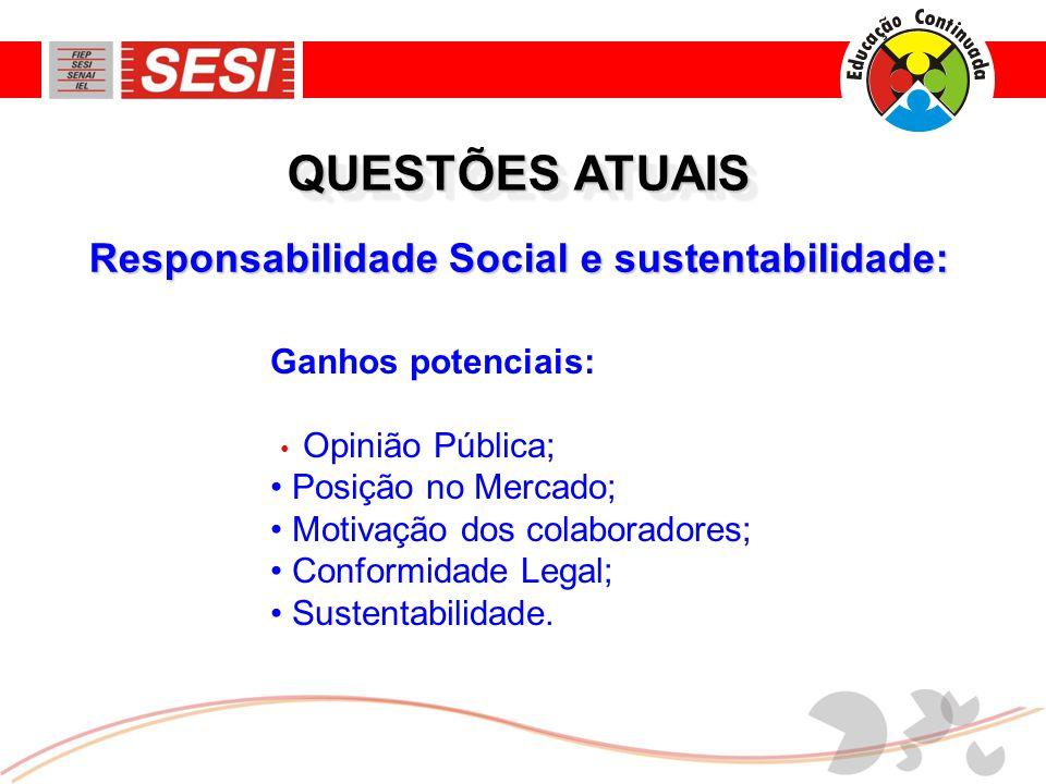 Responsabilidade Social e sustentabilidade: QUESTÕES ATUAIS Ganhos potenciais: • Opinião Pública; • Posição no Mercado; • Motivação dos colaboradores; • Conformidade Legal; • Sustentabilidade.
