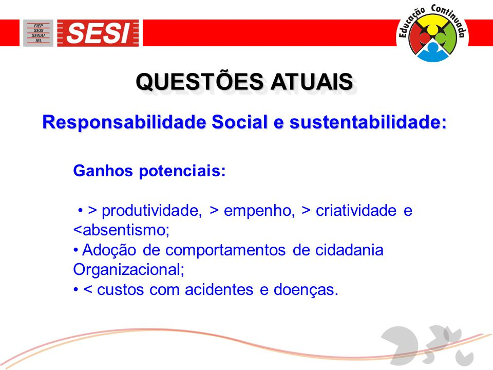 Responsabilidade Social e sustentabilidade: QUESTÕES ATUAIS Ganhos potenciais: • > produtividade, > empenho, > criatividade e <absentismo; • Adoção de comportamentos de cidadania Organizacional; • < custos com acidentes e doenças.