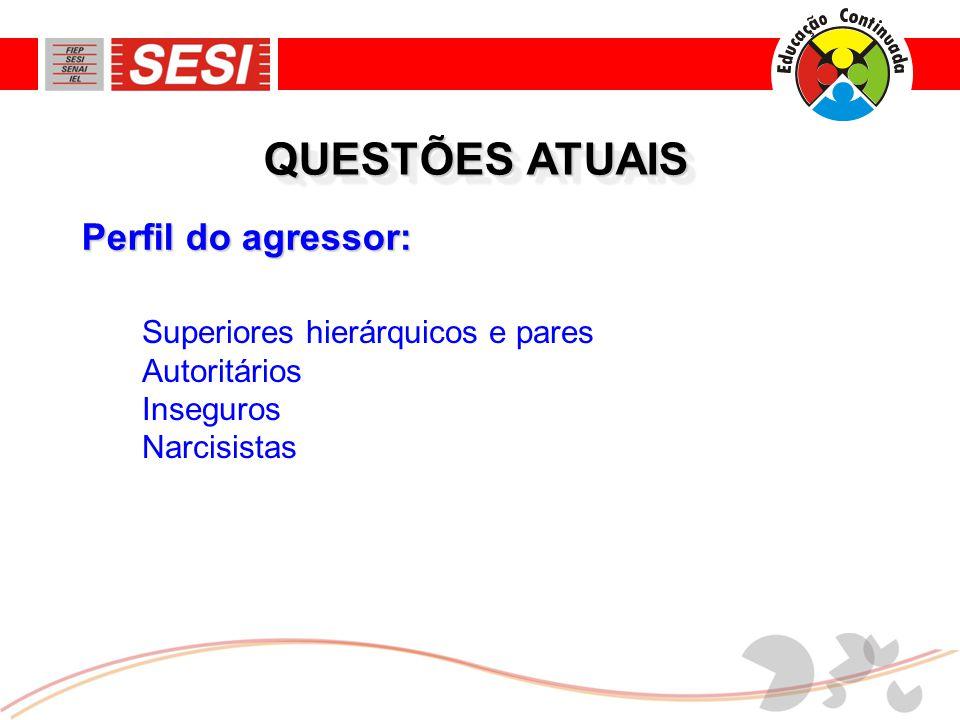Perfil do agressor: QUESTÕES ATUAIS Superiores hierárquicos e pares Autoritários Inseguros Narcisistas